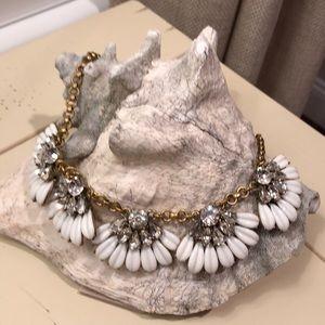 J. Crew White and brass crystal bib necklace
